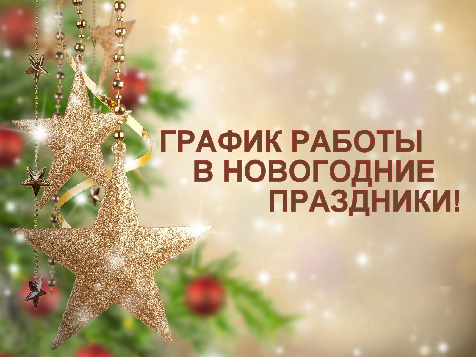 ГРАФИК РАБОТЫ В НОВОГОДНИЕ ПРАЗДНИКИ 2019 года